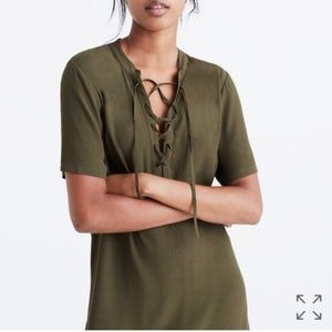 NWT madewell novella lace up dress olive M